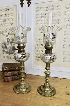 Rare Pair Victorian French Oil Lamps Peg Lamps Complete with