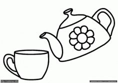 teapot and cup Colouring Pages