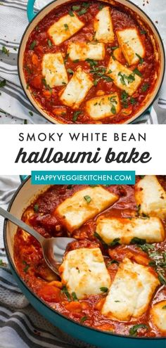 Halloumi and white beans baked in a rich, smoky, Spanish inspired tomato sauce! A simple but stunning one pot vegetarian meal, on the table in 30 minutes. One Pot Vegetarian, Tasty Vegetarian Recipes, Vegetarian Dinners, Veg Recipes, Kitchen Recipes, Dinner Recipes, Cooking Recipes, Healthy Recipes, Cooking Videos