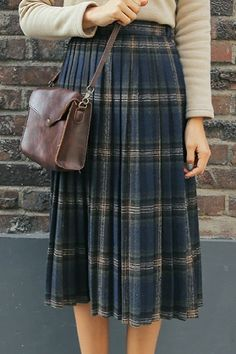 Plaid Long Pleated Skirt