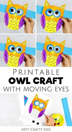 Looking for printable fall crafts for kids to make at home or preschool this autumn? These printable owl crafts for kids feature cute moving eyes   are fun   simple for children to paint or color with our printable owl crafts for kids templates. Get printable craft templates for kids for these   other easy fall crafts for kids ideas here! Easy Owl Crafts for Kids Woodland Animals | Kids Printables | Preschool Owl Crafts for Kids | Woodland Animal Crafts for Kids | Fall Paper Crafts for Kids Leaf Crafts Kids, Fall Crafts For Toddlers, Thanksgiving Crafts For Kids, Animal Crafts For Kids, Owl Crafts, Halloween Crafts For Kids, Crafts For Kids To Make, Craft Activities For Kids, Cute Crafts