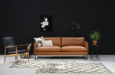 Kuusilinnan oman malliston suosittu Syvätuuli upealla ja pehmeällä konjakkinahalla Sofa, Couch, Luxor, Furniture, Home Decor, Settee, Settee, Decoration Home, Room Decor