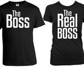 Matching Couple Shirts His And Her Shirts Couple T Shirts Couple Outfits Wedding T Shirts Boss Real Boss T Shirt Mens Ladies Tee FAT-271-272