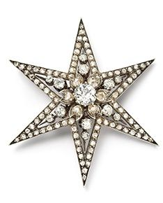 Cartier Paris Star Brooch of Yellow Gold, Silver, and Diamonds 1889.
