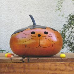 Halloween Jack O Lantern Gourd Kitty Cat Fall Decoration Natural Carved Candy Dish.