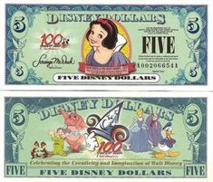 disney dollars that you can trade cash for and use at disney nice keepsake or for child to have to spend