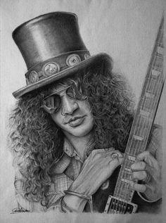 Slash by on DeviantArt – Celebrity Art – dibujo Celebrity Drawings, Celebrity Portraits, Guns N Roses, Pencil Drawings, Art Drawings, Pencil Art, Graphite Art, Slash, Music Artwork