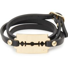 MCQ Alexander McQueen Razor Leather Wrap Bracelet ($100) ❤ liked on Polyvore featuring men's fashion, men's jewelry, bracelets, jewelry, accessories, pulseiras, pulseras and black