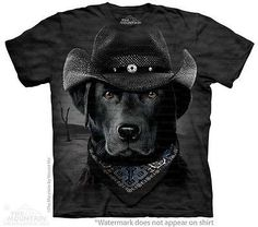 Big Face Cowboy Black Lab T-Shirt