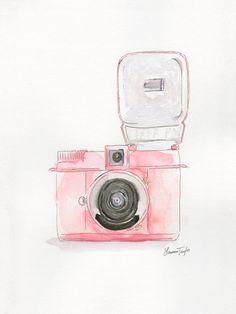 Pink Diana Flash Camera Giclee Print by LaurenTaylorCreates, $20.00