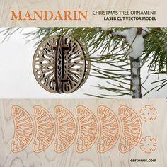 Mandarin. Christmas tree ornament. FREE vector model. Ready for laser cut.