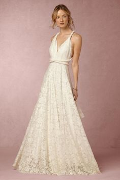 lace wedding dress with convertible straps   Noelle Dress from BHLDN