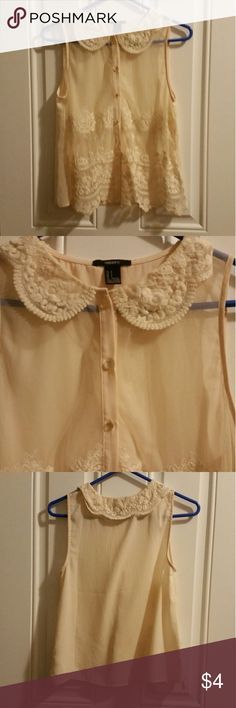 Lacy see through peter pan collar blouse Cute little blouse in excellent condition Forever 21 Tops Blouses
