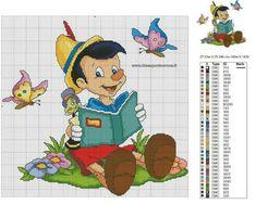 quilting like crazy Disney Cross Stitch Patterns, Cross Stitch Borders, Cross Stitch Baby, Counted Cross Stitch Patterns, Cross Stitch Designs, Cross Stitching, Cross Stitch Embroidery, Pinocchio, Stitch Cartoon