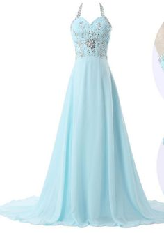 Halter Light Blue Long Chiffon Formal Occasion Dress with Crystals