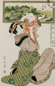 Evening bell of Mii temple. Ukiyo-e woodblock print, early 1800's, Japan, by artist Kikugawa Eizan.