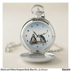 Black and White Penguin Birds Blue Pocket Watch