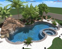 Insane Pools - Backyard: Almost identical to what I imagined! Move hot tub to the water fall ledge and it's perfect! Backyard Pool Landscaping, Backyard Pool Designs, Swimming Pools Backyard, Swimming Pool Designs, Lap Pools, Indoor Pools, Luxury Swimming Pools, Luxury Pools, Dream Pools