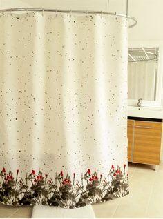Nip Paintbrush Fabric Shower Curtain Black Grey Red White Modern Floral New
