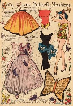 Splendidly pretty butterfly themed Katy Keen paper doll clothes. #vintage #1950s #paper #doll #paperdoll #fashion #clothing #butterfly