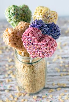 These Rice Kripsie treat heart pops are so sweet.