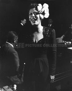 "Gjon Mili Billie Holiday, The Metropolitan Opera House, New York City 1944 ""I've been told that nobody sings the word 'hunger' like I do.'"" Billie Holiday, ""Lady Sings the Blues"" 1956 Billie Holiday, Louis Armstrong, Gjon Mili, Lady Sings The Blues, Jazz Concert, Live Jazz, Metropolitan Opera, Jazz Musicians, Jazz Artists"