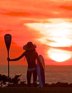 Beautiful SUP girl watching the sunset. #DreamSpot.