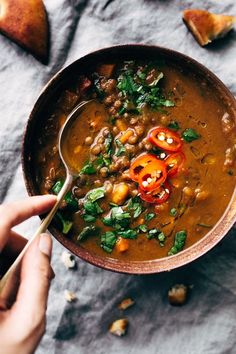 Winter Detox Moroccan Sweet Potato Lentil Soup (Slow Cooker) A soul-warming Moroccan sweet potato lentil soup recipe. This soup is made in the slow cooker and requires hardly any work at all. Plus, it makes the whole house smell warm and cozy! Slow Cooker Lentil Soup, Lentil Potato Soup, Lentil Soup Recipes, Vegetarian Recipes, Healthy Recipes, Detox Recipes, Lentil Stew, Potato Recipes, Lentil Detox Soup