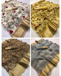 RESTOCKED ON HIGH DEMAND Organza silk saree with embroidery and running blouse Indian Sarees, Silk Sarees, Grey Saree, Nauvari Saree, Trendy Sarees, Abaya Fashion, Indian Ethnic Wear, Embroidery, Womens Fashion