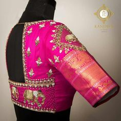 Tradition with a twist. Stunning rani pink color bridal designer blouse with elephant design hand embroidery thread and bead work. 09 January 2018