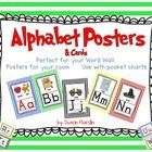 26 Full size Alphabet Posters 8.5in.  x 11in. 26 Half size Alphabet Posters 8.5in. x 5.5in. 26 Letter cards  Each poster and card has both upper ca...