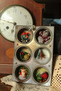Christmas vintage muffin tin assemblage mixed media art