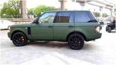 Range Rover Vogue  - Wrapped in Matte military green. - Alloys and trims painted in matte black. Only at Steam and Shine