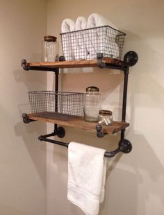 small Bathroom Decor The Ridgewood Double Hanging Shelf (No assembly needed) Small Bathroom Storage, Industrial Bathroom Decor, Bathroom Decor, Hanging Shelves, Shelves, Bathrooms Remodel, Bathroom Remodel Designs, Home Decor, Bathroom Storage