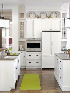 Ideas for Decorating above Kitchen Cabinets - Refrigerator - Trending Refrigerator for sales. - Add interesting architectural structure to your kitchen cabinets to create beautiful forms with fine-tuned function. Above Cabinet Decor, Decorating Above Kitchen Cabinets, Above Cabinets, White Kitchen Cabinets, Kitchen Redo, Home Decor Kitchen, Kitchen Furniture, New Kitchen, Home Kitchens