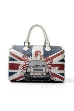 Union Jack Print Zipped Shoulder Bag