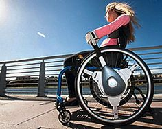 The NuDrive Evo uses a lever-drive system to make wheelchair propulsion 40 percent more efficient.