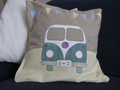 A camper van cushion cover, commissioned for a wedding present and made to match the invitation.