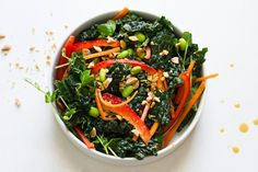 thai kale salad and peanut dressing