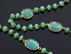 Natural 67mm Chrysoprase Wirewrapped Gemstone Rosary by Beadspoint, $32.99