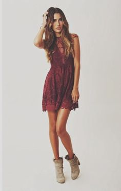 short lace dress with booties