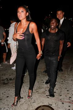 Celebrations: Kevin Hart, 36, treated his glamorous fiancée Eniko Parrish to a birthday night out in West Hollywood on Tuesday