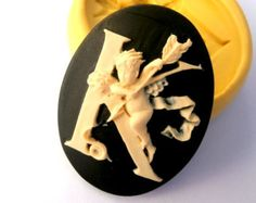 K Letter Alphabet Cameos with Cherubs Mold Mould Resin Clay Fondant Wax Soap Fimo Flexible Silicone Mold