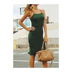 Rotita Spaghetti Strap Dark Green Back Slit Dress ($16) ❤ liked on Polyvore featuring dresses, green, spaghetti strap dress, dark green dress, sleeveless sheath dress, knee high dresses and sheath dress