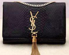 Yves Saint Laurent Monogramme Snake Leather Cross-body Bag Y32218 Black 78788f29d475c