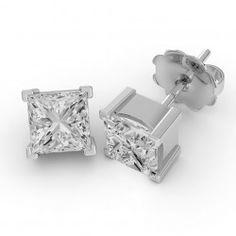 Cercei Tip Stud Aur Alb 18kt cu Diamant Princess Setat cu 4 Gheare - RDE002W Aur, Cufflinks, Stud Earrings, Accessories, Jewelry, Jewlery, Bijoux, Studs, Schmuck