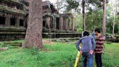 Students from the Royal University of Fine Arts practise survey and mapping techniques at Angkor Wat