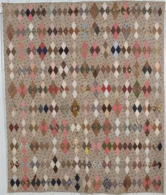 Calico Diamonds Quilt: Circa 1880; Pennsylvania
