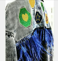 Feather dressing shop decoration denim coat embroidery