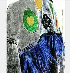 Feather dressing shop decoration denim coat embroidery